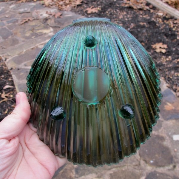 Antique Westmoreland Teal Carnival Glass Footed Shell Dish - LARGE!