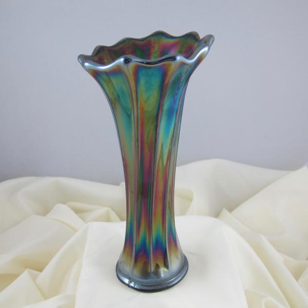 Antique Crown Crystal Purple Australian Gum Tips Carnival Glass Radium Vase