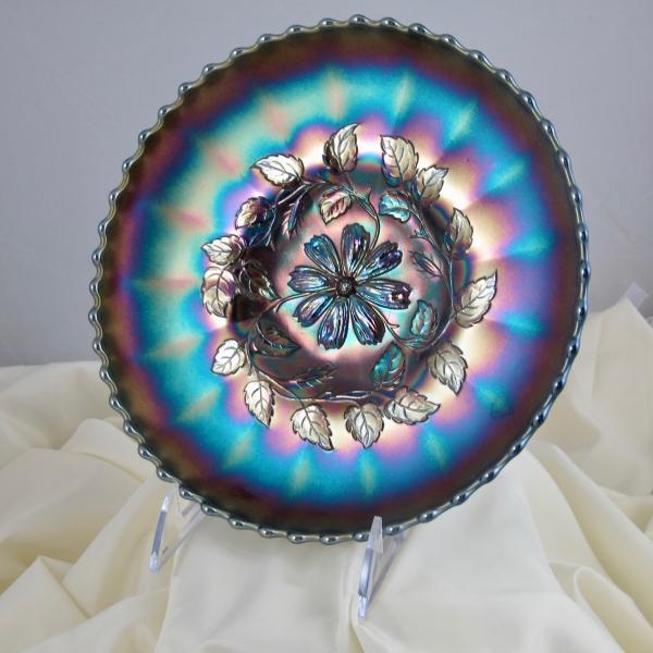 Antique Dugan Cosmos Variant Amethyst Carnival Glass ICS Odd Shaped Bowl