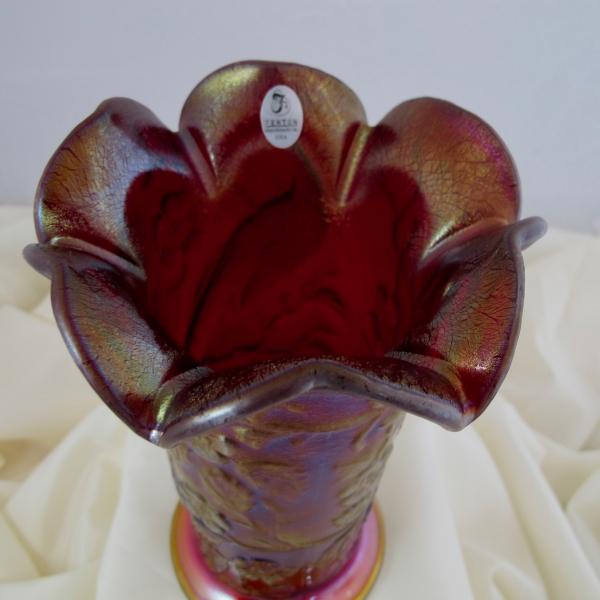 Fenton Red Peacock Garden Stretch Carnival Glass Ruffled Top Vase Ltd. Ed.