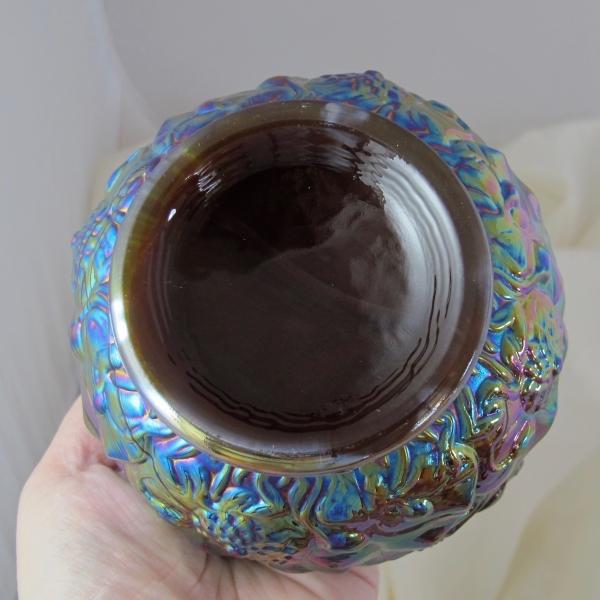Fenton Red Slag Waterlily Carnival Glass Rose Bowl
