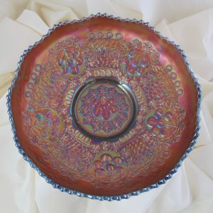 Antique Fenton Cherry Chain Amethyst Carnival Glass Large ICS Bowl - Rare Size
