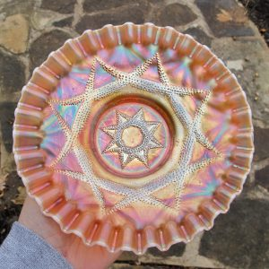 Antique Dugan Ski Star Peach Opal Carnival Glass CRE Plate