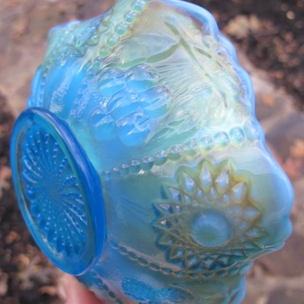 Antique Westmoreland Blue Opal Hobstar & Fruit Carnival Glass Bowl