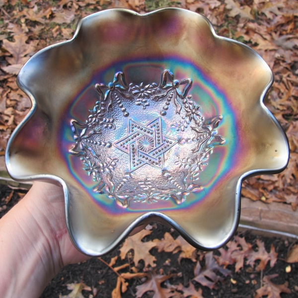 Antique Northwood Amethyst Star of David & Bows Carnival Glass Bowl