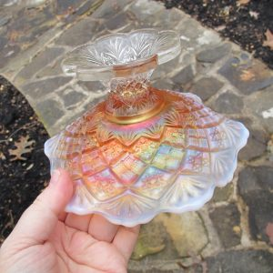 Antique Westmoreland Peach Opal File & Fan Carnival Glass Compote
