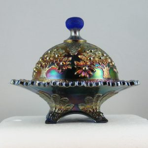 Antique Fenton Blue Orange Tree Carnival Glass Butter Dish