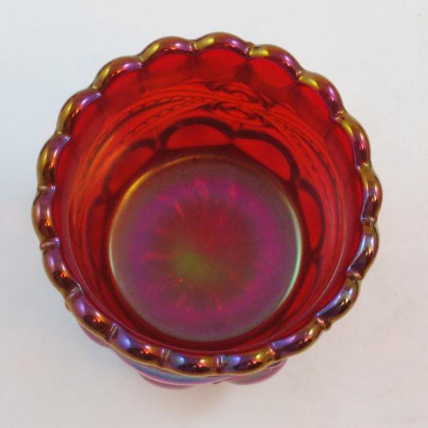 Robert Hansen Red Eyewinker Carnival Glass Toothpick Holder