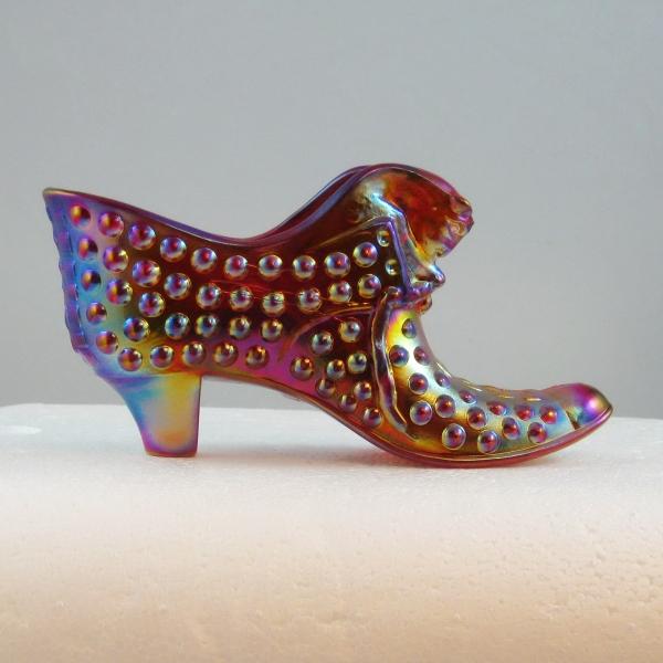 Robert Hansen Red Hobnail Cathead Carnival Glass Shoe Match Holder
