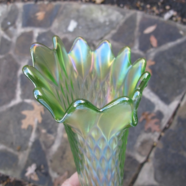 Antique Northwood Lime Ice Green Diamond Point Carnival Glass Vase