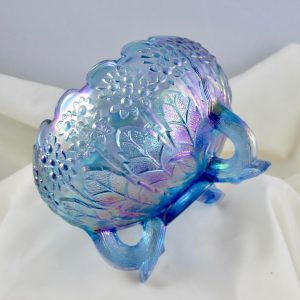 Fenton Twilight Blue Fenton's Flowers Carnival Glass Rose Bowl