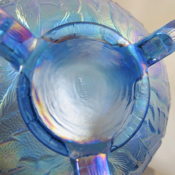 Fenton Twilight Blue Fenton's Flowers Carnival Glass Rose Bowl