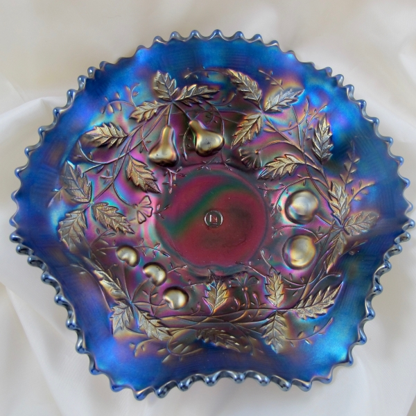 Antique Northwood Fruits & Flowers Electric Blue Carnival Glass Bowl