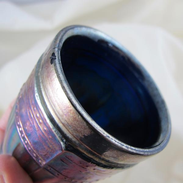 Antique Cristolerias Piccardo Berry Band & Ribs Blue Carnival Glass Tumbler