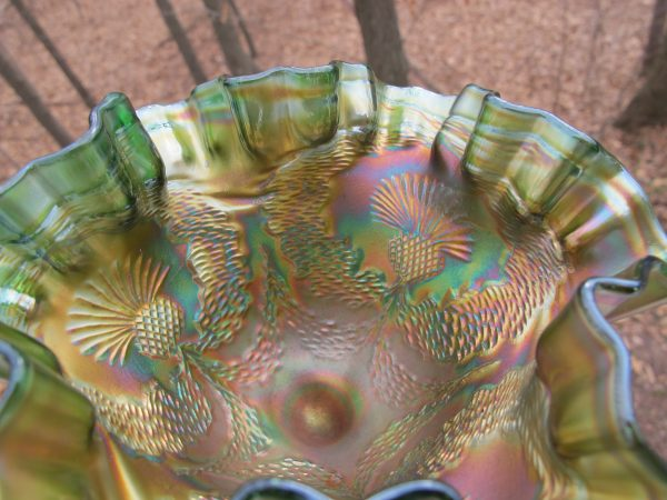 Antique Fenton Scotch Thistle Green Carnival Glass Compote