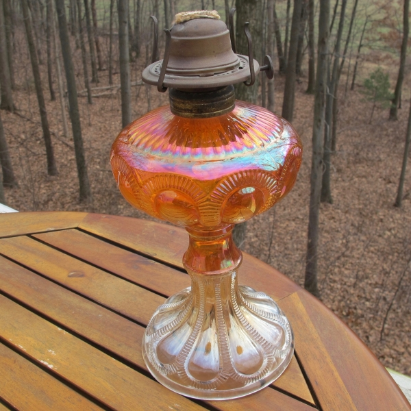 Antique Imperial Marigold Zipper Loop Carnival Glass Lamp