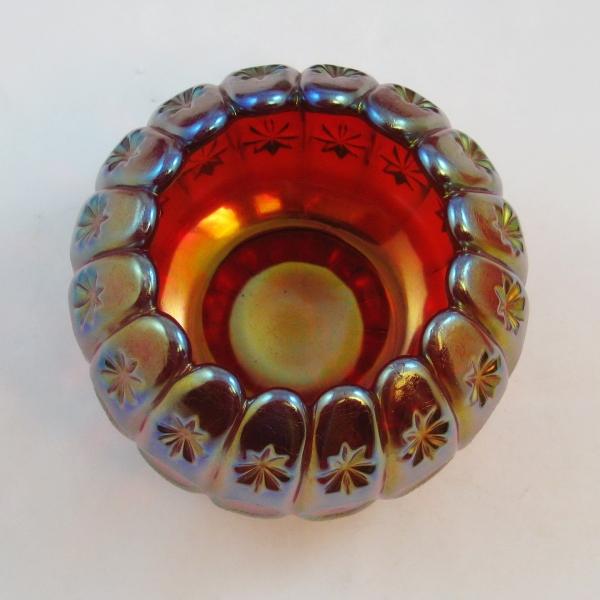 Robert Hansen Red Moon & Star Carnival Glass Rose Bowl