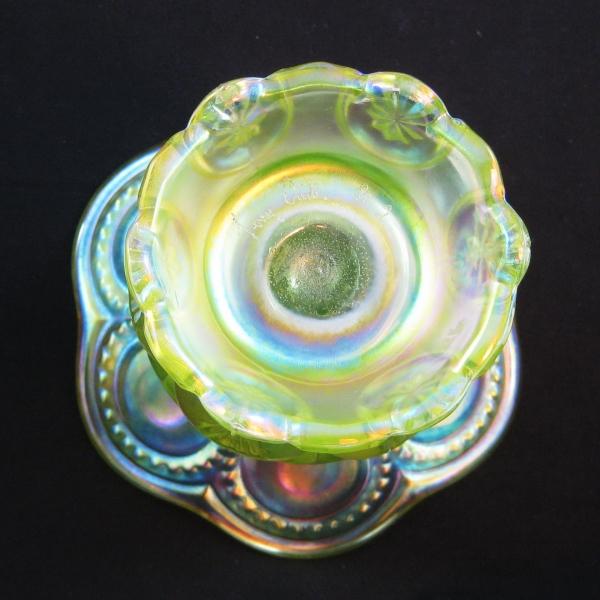 Terry Crider Vaseline Moon & Star Carnival Glass Spittoon Vase Whimsey