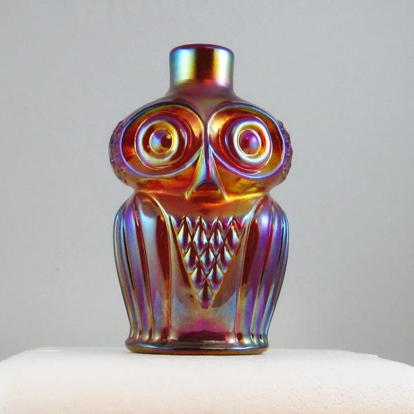 Robert Hansen Red Owl Carnival Glass Bottle