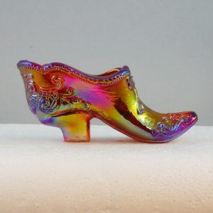 Robert Hansen Red Queen Carnival Glass Shoe Toothpick Holder