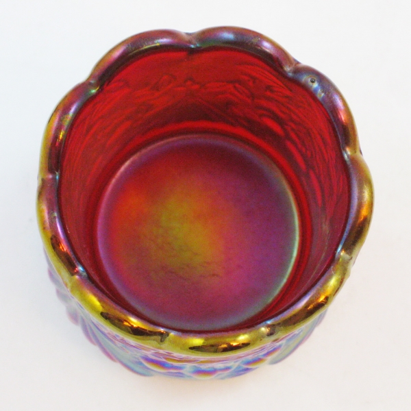 Robert Hansen Red Wreathed Cherry Carnival Glass Toothpick Holder