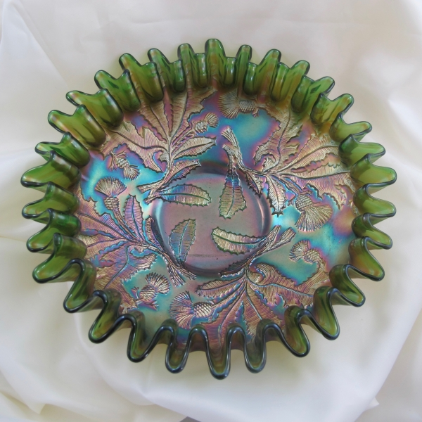 Antique Fenton Green Thistle Carnival Glass CRE Bowl
