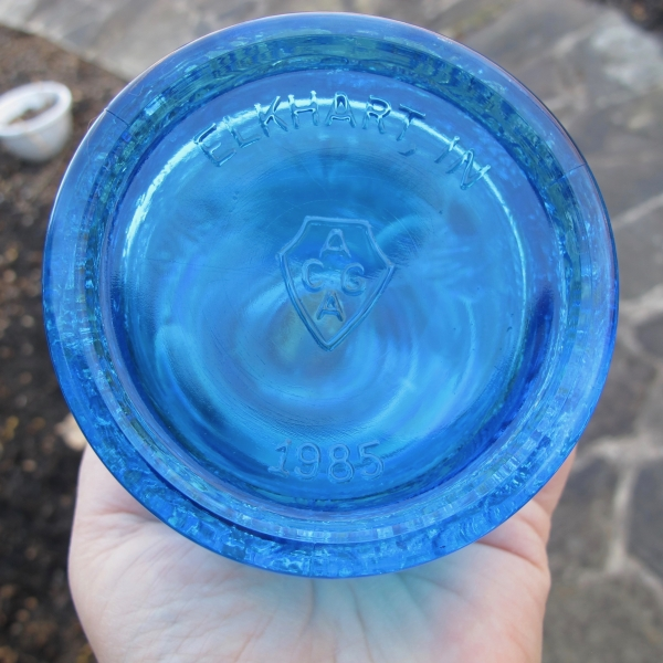 Fenton Sapphire Blue Seacoast Carnival Glass Whimsey Pitcher Creamer Ewer RARE OOAK