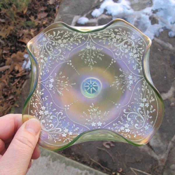 Antique Loetz Olympia Green Iridescent Art Glass Salver Bon Bon Compote Enamel Painted