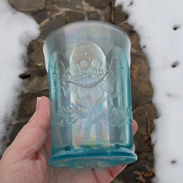 Antique Northwood Ice Blue Oriental Poppy Carnival Glass Tumbler