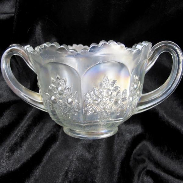 Antique Fenton White Orange Tree Carnival Glass Breakfast Sugar Bowl