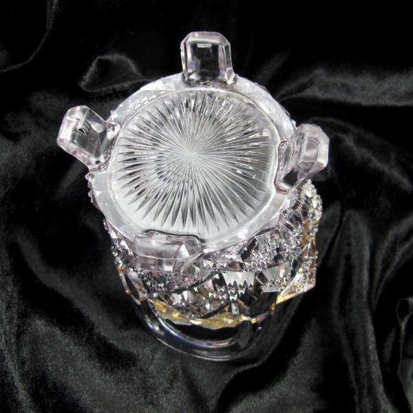 Antique Northwood Diamond Points Glass Basket EAPG Gold Trimmed