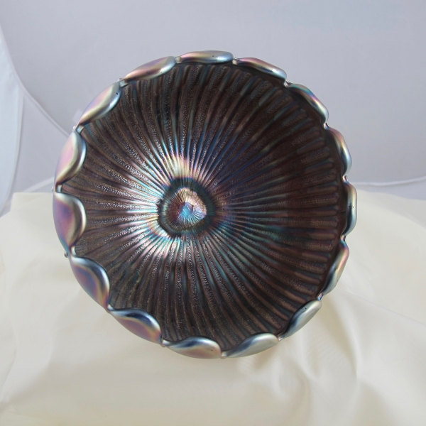 Antique Northwood Amethyst Leaf & Beads Carnival Glass Rose Bowl - Stippled Rays Int.