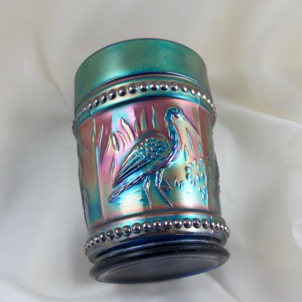 Antique Dugan Blue Stork & Rushes Carnival Glass Tumbler