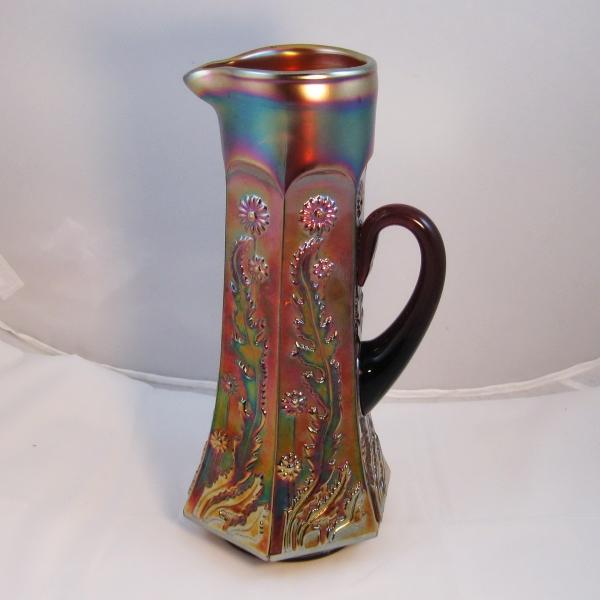 Antique Fenton Amethyst Paneled Dandelion Carnival Glass Water Set