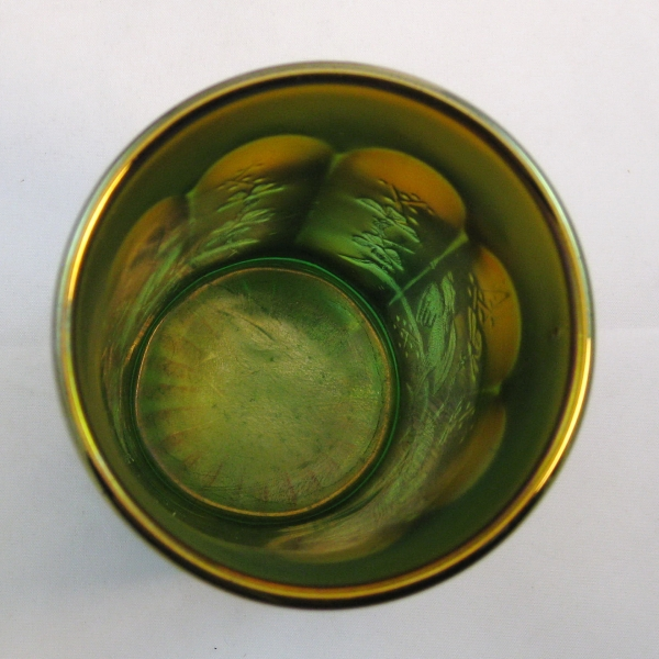 Antique Northwood Green Singing Birds Carnival Glass Tumbler