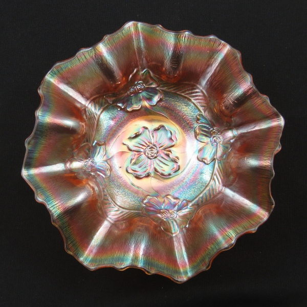 Antique Dugan Diamond Pink Stretch Apple Blossom Carnival Glass Bowl