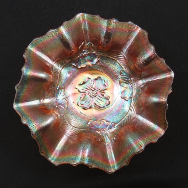 Antique Dugan Diamond Pink Stretch Apple Blossom Carnival Glass Bowl