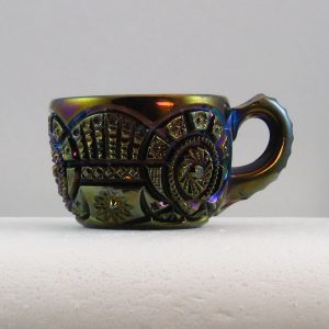 Antique Imperial Purple Broken Arches Carnival Glass Punch Cup