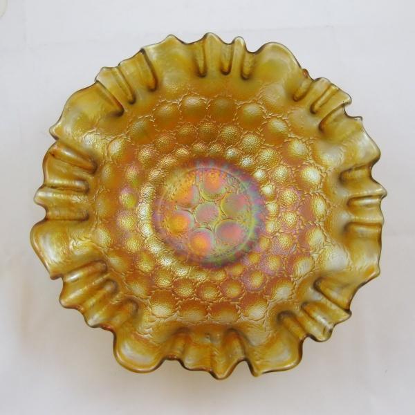 Antique Fenton Vaseline Feather Stitch Carnival Glass 3N1 Bowl