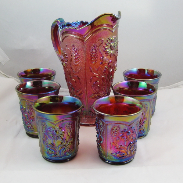 Imperial Red Field Flower Carnival Glass Water Set