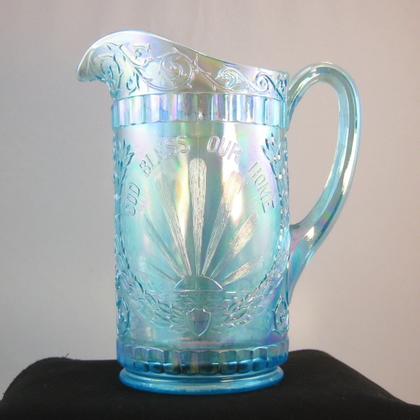 LG Wright Ice Blue God & Home Carnival Glass Water Set