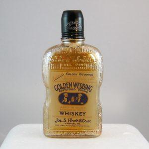 Antique Whitall Tatum Marigold Golden Wedding Carnival Glass Pint Bottle