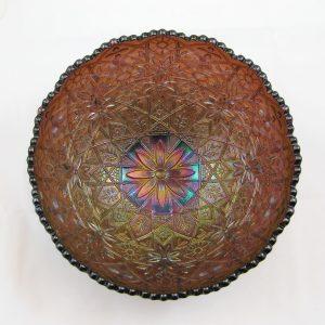 Antique Imperial Purple Hattie Carnival Glass Deep Round Bowl