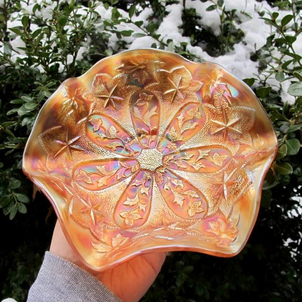 Antique Millersburg Pumpkin Little Stars Carnival Glass Bowl
