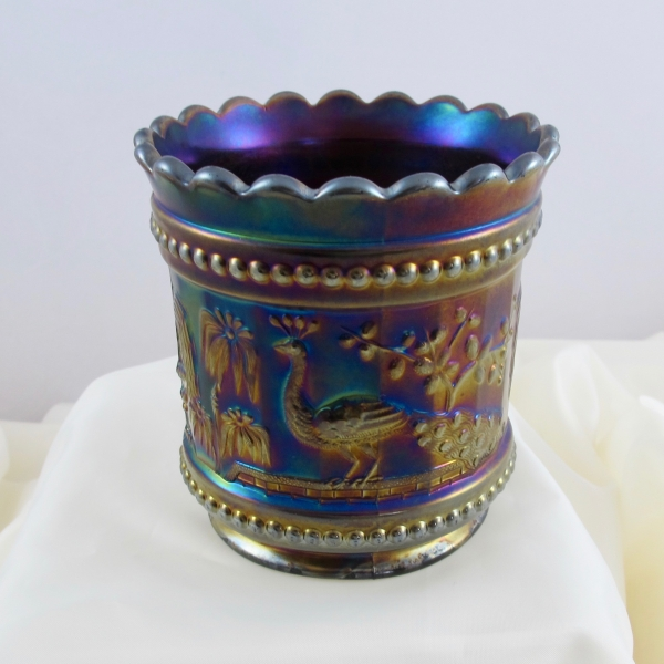 Antique Northwood Peacock at the Fountain Amethyst Carnival Glass Spooner