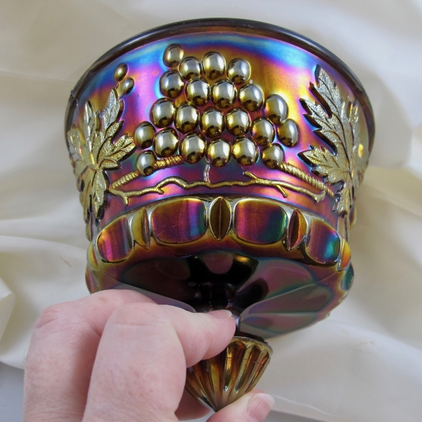 Antique Northwood Grape & Cable Amethyst Carnival Glass Butter Dish