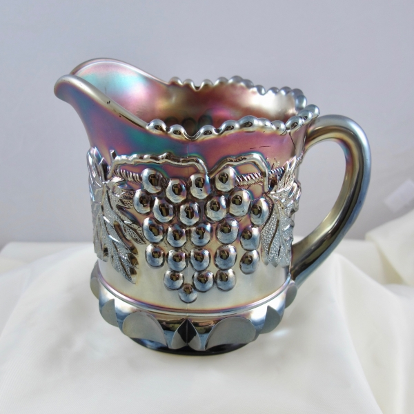 Antique Northwood Grape & Cable Lt. Amethyst Carnival Glass Creamer Cream Pitcher
