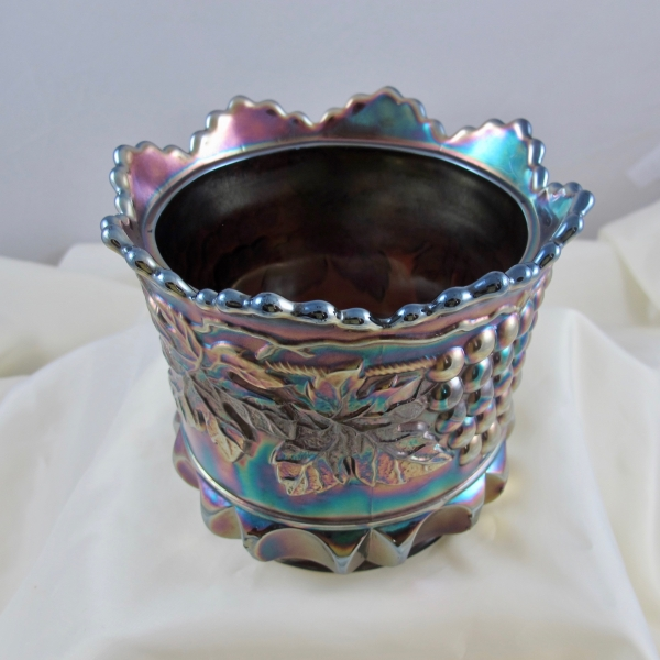 Antique Northwood Grape & Cable Amethyst Carnival Glass Lidded Sugar Bowl