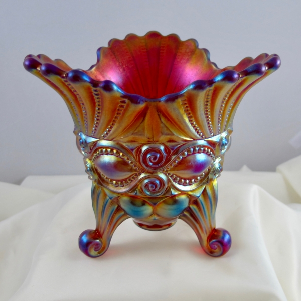 Robert Hansen Red Eyewinker Carnival Glass Tri-Corner Flared Vase