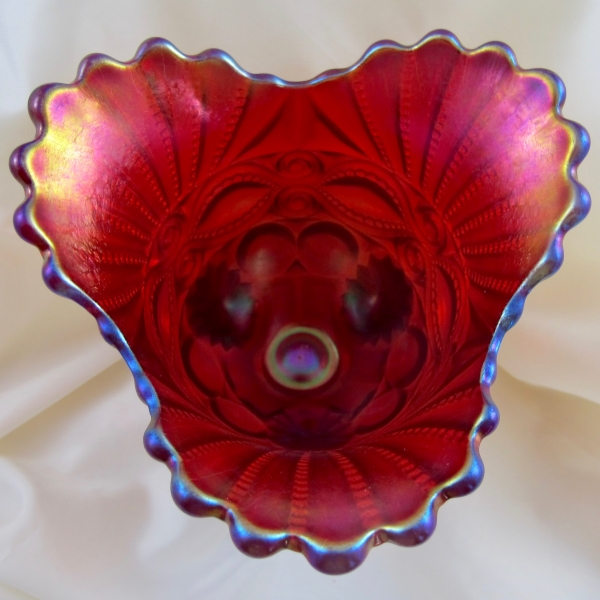 Robert Hansen Red Eyewinker Carnival Glass Trip-Corner Flared Vase